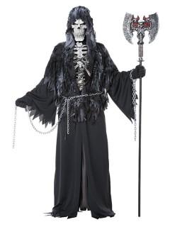 Gevatter Tod Halloween-Kostüm Sensenmann schwarz-weiss