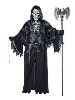 Gevatter Tod Halloween-Kostüm Sensenmann XL schwarz-weiss