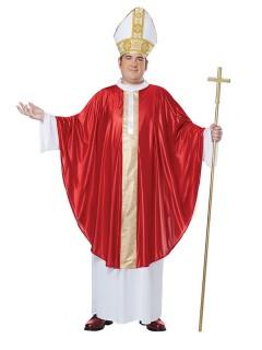 Papst XL Kostüm Kardinal rot-weiss-gold