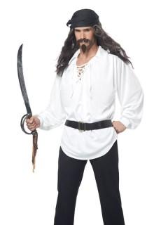 Pirat Langhaar-Perücke mit Bart grau
