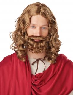 Jesus Locken-Perücke mit Bart braun