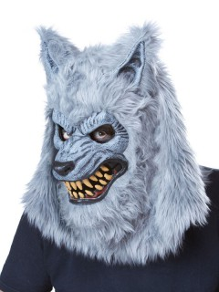 Werwolf Halloween Ani-Motion Maske grau
