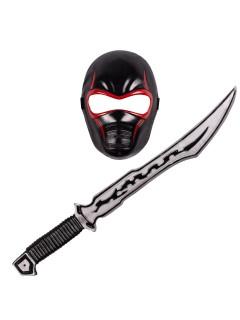 Ninja-Set Maske und Schwert für Kinder schwarz-rot