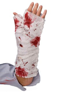 Blutiger Verband Bandage Halloween-Accessoire weiss-rot