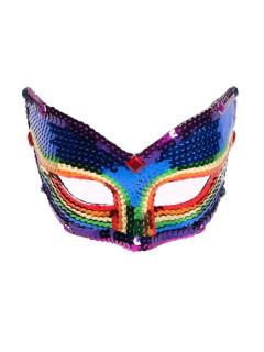 Venezianische Maske Pailletten Augenmaske regenbogenfarben