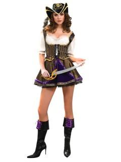 Edle Piratenbraut Piratin Buccaneer Damenkostüm gold-lila-weiss