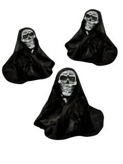 Sensenmann Halloween Gartendeko-Figuren 3er-Set schwarz-weiss 53cm