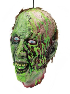 Abgehackter Zombie-Kopf Halloween Hängedeko grün-braun 20x19x26cm