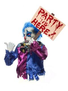 Horror-Clown mit Schild Halloween-Figur bunt 35x35x53cm