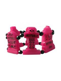 Kreepsville Gothic Armband Grabsteine pink