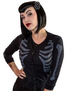 Kreepsville-Cardigan Skelett-Weste schwarz-grau