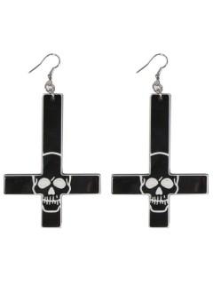 Kreepsville Gothic Ohrringe Kreuz Totenschädel schwarz