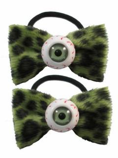 Kreepsville Haargummis Leopardenmuster mit Augen 2 Stück grün-schwarz