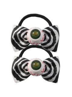 Kreepsville-Haargummis Augen mit Schleifen Halloween-Haarschmuck 2 Stück weiss-schwarz 6,5cm