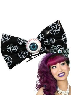 Kreepsville Haarspange Schleife mit Auge Accessoire schwarz-weiss