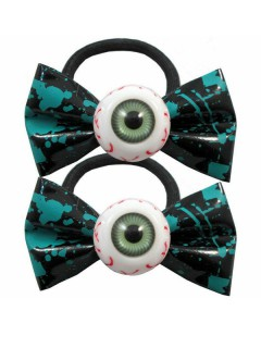 Kreepsville Haargummis mit Augen schwarz-türkis-weiss