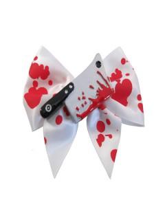 Kreepsville Gothic Haarspange Schleife mit Beil rot-weiss 9cm