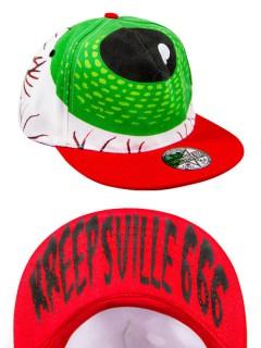 Kreepsville-Cap Basecap mit Augen-Motiv weiss-grün-rot