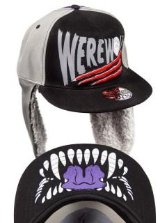 Kreepsville-Basecap Werwolf-Cap mit Ohrenwärmern schwarz-grau
