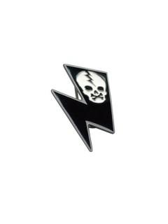 Kreepsville Gothic Gürtelschnalle Blitz Skull schwarz-weiss