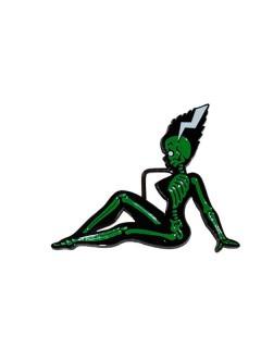 Kreepsville Gothic Gürtelschnalle Monsterbraut grün-schwarz