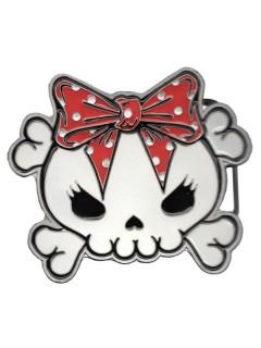 Kreepsville Gothic Gürtelschnalle Skull mit Schleife weiss-rot