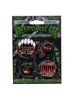 Kreepsville Gothic Vamp Button Set 4-teilig schwarz-rot