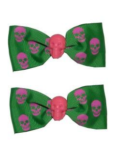 Kreepsville-Haargummis Totenkopf mit Schleife Haarschmuck 2 Stück grün-rosa