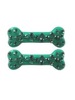 Gothic Knochen-Haarspangen mit Strass 2 Stück grün