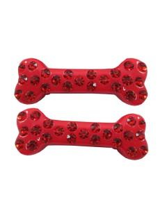 Kreepsville-Haarklammern Knochen mit Schmucksteinen 2 Stück rot 6cm