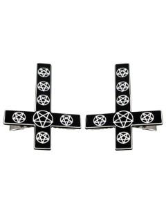 Kreepsville-Haarklammern Kreuze mit Pentagrammen 2 Stück schwarz-weiss 7x5cm