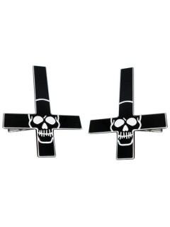 Kreepsville-Haarklammern Kreuze mit Totenköpfen 2 Stück schwarz-weiss 7x5cm