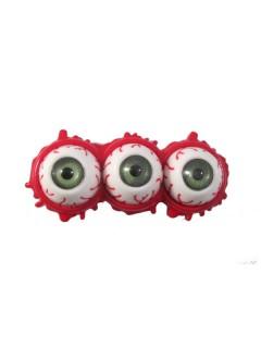 Kreepsville-Haarschmuck Augen-Haarklammer rot-weiss 7,5cm