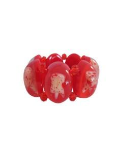 Kreepsville-Armband Blutige Zähne rot-weiss