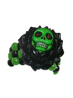 Kreepsville Gothic Armband Skull-Rose schwarz-grün