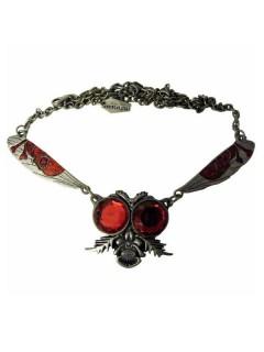 Kreepsville Gothic Halskette Fliege silber-rot