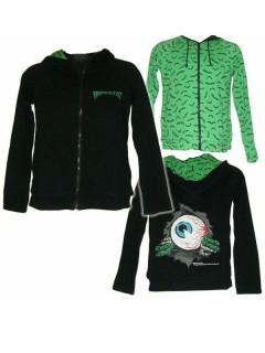 Kreepsville-Hoodie Halloween-Pullover Augapfel-Motiv schwarz-grün