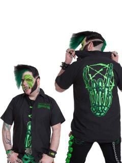 Kreepsville Gothic-Hemd Skeletthand schwarz-grün