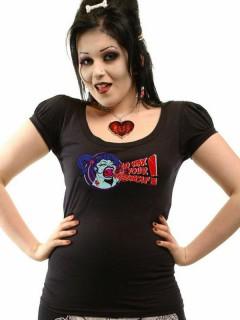 Kreepsville Wax Your Werewolf-T-Shirt mit Puffärmeln schwarz-bunt