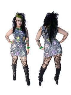 Kreepsville-Gothic-Kleid Toxic Toons bunt