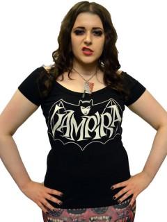 Kreepsville-Damenshirt Girlie-Shirt Vampira schwarz-weiss