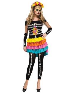 Dia de los Muertos Halloween-Damenkostüm Skelett schwarz-bunt