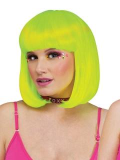 UV Bob-Perücke Rave mit Pony neongelb