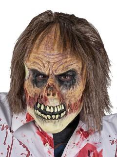 Zombie Halloween-Maske mit Haaren beige-braun