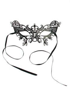 Venezianische Metall-Augenmaske Schmetterling schwarz