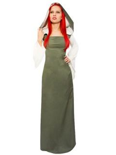 Mittelalter Kapuzen-Kleid Damenkostüm LARP Rollenspiel grün-beige