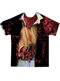 T-Shirt Zombie mit ärmeln schwarz-bunt