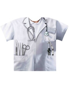 T-Shirt Doktor Arzt fotorealistisch Schnellkostümierung weiss-silber