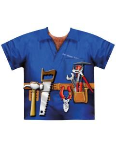 T-Shirt Klempner fotorealistisch Schnellkostümierung blau-bunt