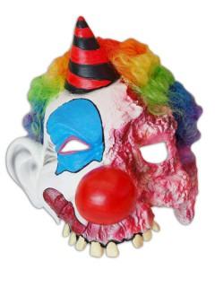 Zombie Clown Halloween Maske mit Hut bunt
